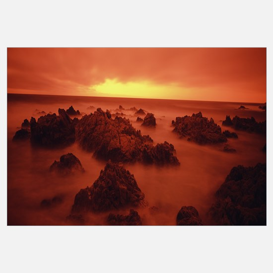 Foggy beach at dusk Pebble Beach Monterey County C