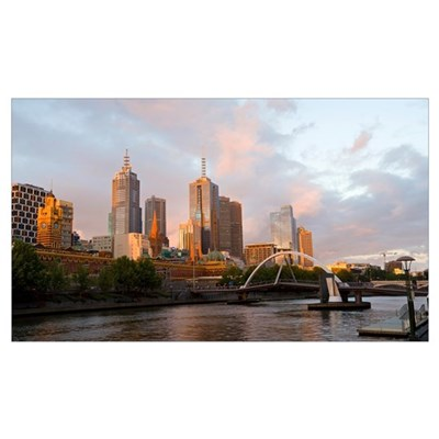 Buildings at the waterfront Yarra River Melbourne Canvas Art
