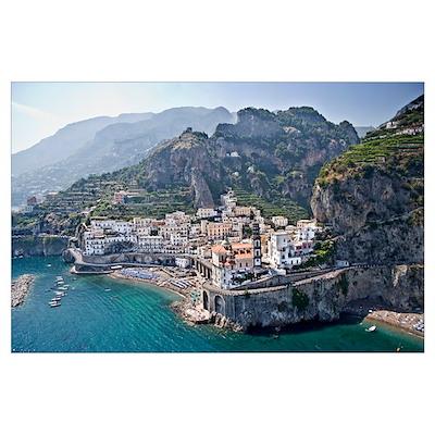 Town at the waterfront Amalfi Atrani Amalfi Coast Poster