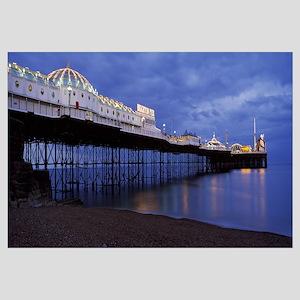 Pier lit up at dusk Brighton Pier Brighton East Su