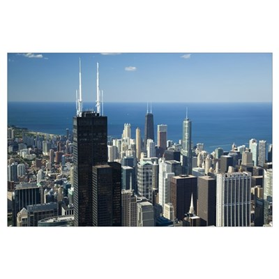 Aerial view of a city, Lake Michigan, Chicago, Coo Poster