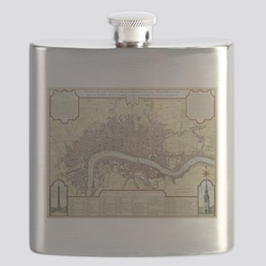 Vintage Map of London England (1727) Flask