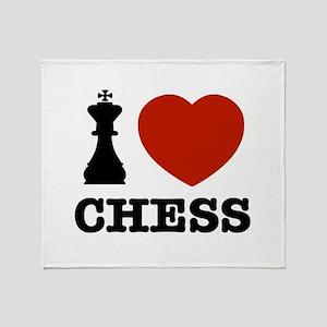 I love Chess Throw Blanket
