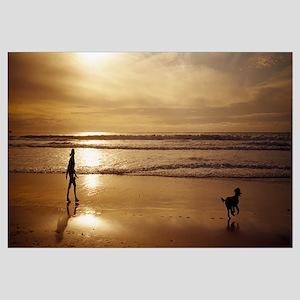 Woman and Dog Ocean Beach Carmel CA