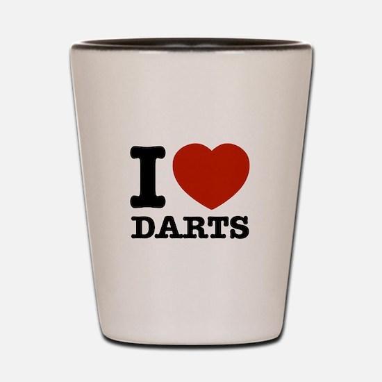 I love Darts Shot Glass
