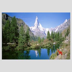 Hiker Matterhorn Mountain Switzerland
