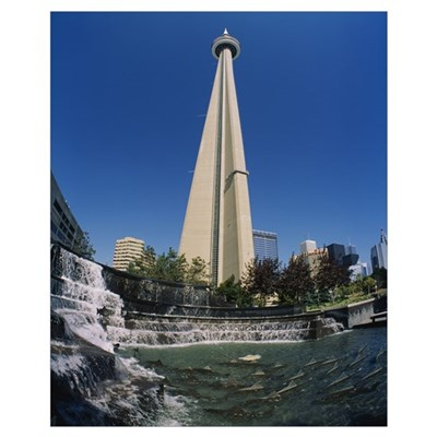 Low angle view of a tower, CN Tower, Salmon Founta Poster