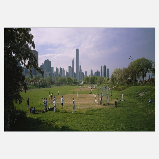 Group of people playing baseball in a park, Grant