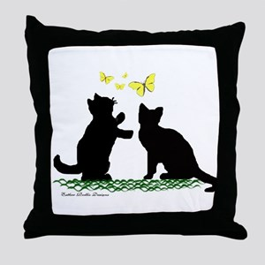 Kittens & Butterflies Throw Pillow