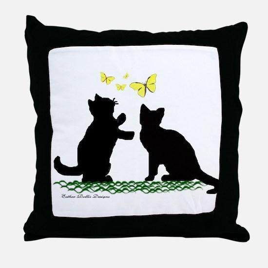 Kittens & Butterflies Throw Pillow