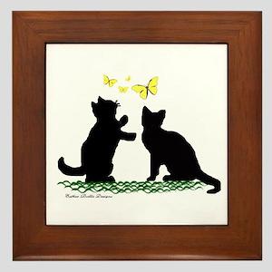 Kittens & Butterflies Framed Tile