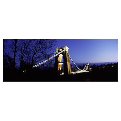 Suspension bridge lit up at night, Clifton Suspens Poster