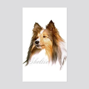 Sheltie Head-Retro Rectangle Sticker
