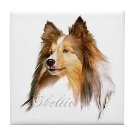 Sheltie Head-Retro Tile Coaster