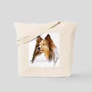 Sheltie Head-Retro Tote Bag