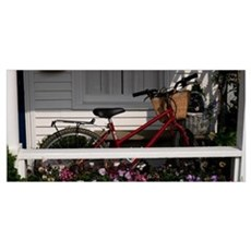 Bicycle parked on a porch of a house, Elbow Lane,  Poster