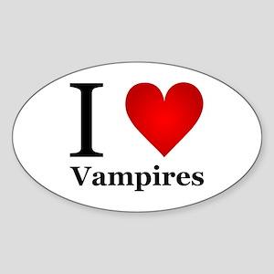 I Love Vampires Sticker (Oval)