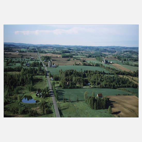 Farms and fields viewed from a balloon, Ontario, C