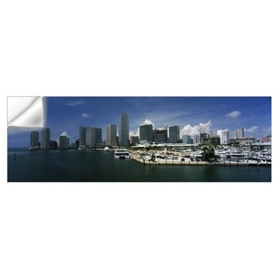Skyscrapers at the waterfront viewed from Biscayne Wall Decal