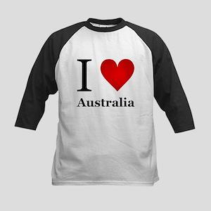 I Love Australia Kids Baseball Jersey