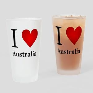 I Love Australia Drinking Glass