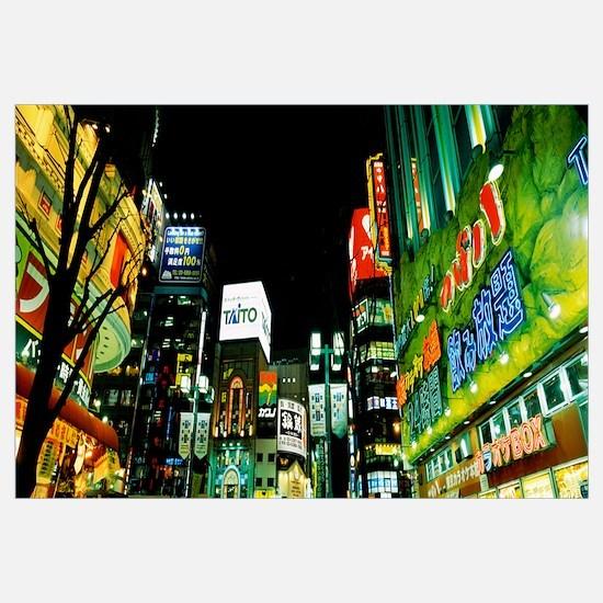 Buildings lit up at night, Shinjuku Ward, Tokyo Pr