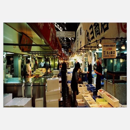 Customers buying fish in a fish market, Tsukiji Fi