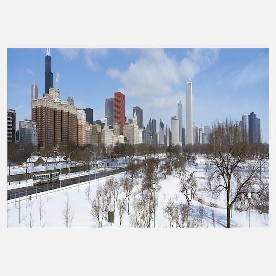 Skyscrapers in a city, Grant Park, Michigan Avenue