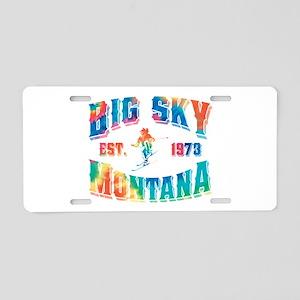 Big Sky Skier Tie Dye Aluminum License Plate