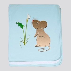 Cute Mouse and Calla lily baby blanket