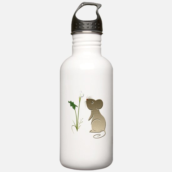 Cute Mouse and Calla lily Water Bottle