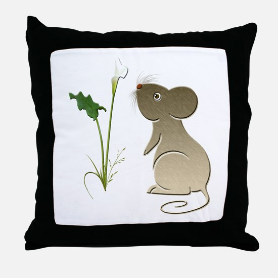 Cute Mouse and Calla lily Throw Pillow