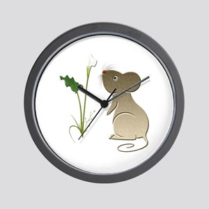 Cute Mouse and Calla lily Wall Clock