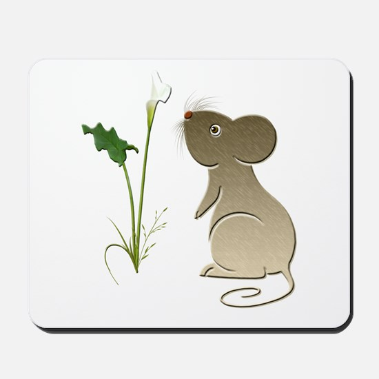 Cute Mouse and Calla lily Mousepad