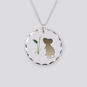 Cute Mouse and Calla lily Necklace Circle Charm