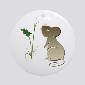 Cute Mouse and Calla lily Ornament (Round)