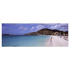 Shops on the beach, Philipsburg, Sint Maarten, Net Poster