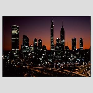 Buildings lit up at dawn, Perth, Western Australia