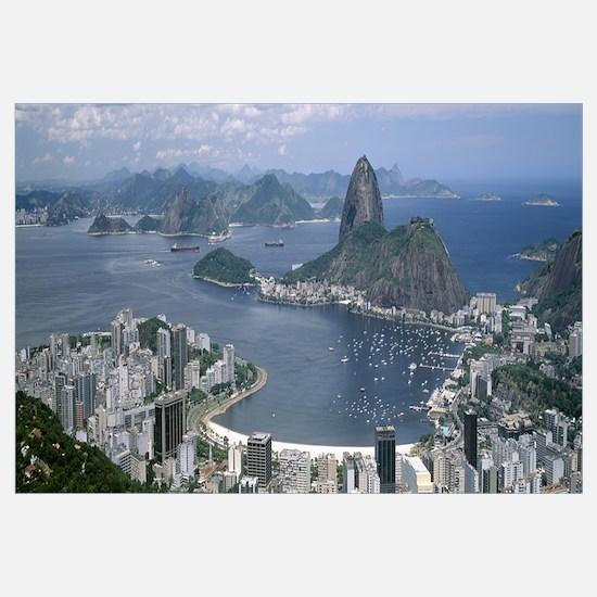 Aerial view of a city Sugarloaf Mountain Rio De Ja