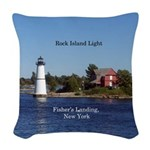 Rock Island Lighthouse Woven Throw Pillow