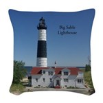 Big Sable Lighthouse Woven Throw Pillow