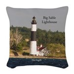 Big Sable Lighthouse From Water Woven Throw Pillow
