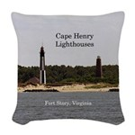 Cape Henry Lighthouses Woven Throw Pillow