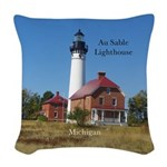Au Sable Point Lighthouse Woven Throw Pillow