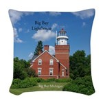 Big Bay Lighthouse Woven Throw Pillow
