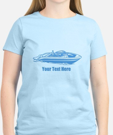 Motorboat. Add Your Text. Women's Light T-Shirt