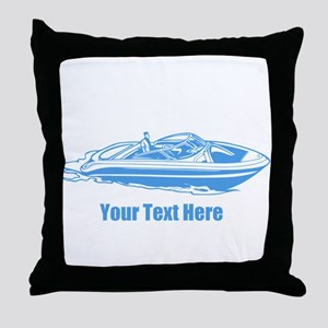 Motorboat. Add Your Text. Throw Pillow