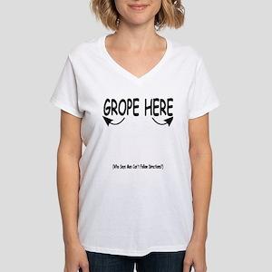 Grope Here V-Neck T-Shirt
