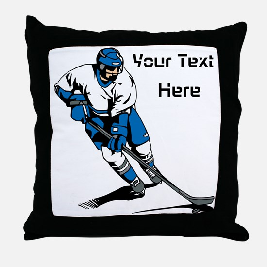 Icy Hockey. With Your Text. Throw Pillow