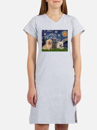 Starry/3 Cairn Terriers Women's Nightshirt